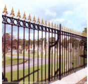 Ornamental railings black with gold tops