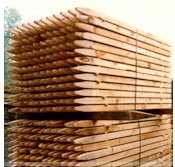 A stack of fencing posts